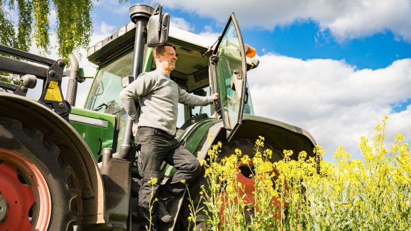 Ein Bauer steht in der Tür seines großen Tracktors und schaut zufrieden über sein Rapsfeld.