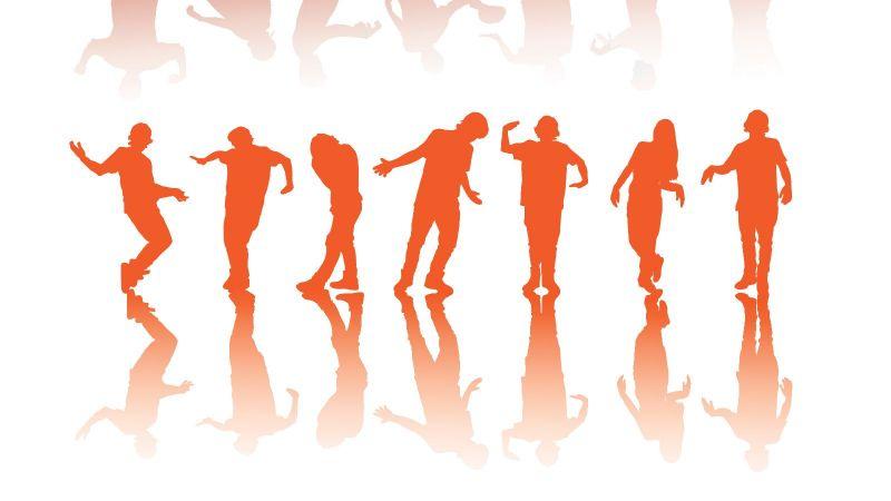 Das Bild zeigt die graphischen Illustration der Silouetten tanzender Menschen, welche auf dem Untergrund gespiegelt werden.