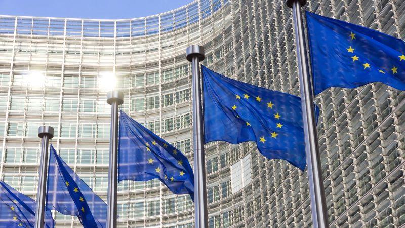 Bild des EU Kommissions Gebäude in  Brüssel mit Europa Fahnen im Vordergrund.