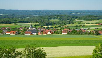 Zu sehen ist ein Dorf in einer grünen Landschaft mit Feldern und Wäldern.