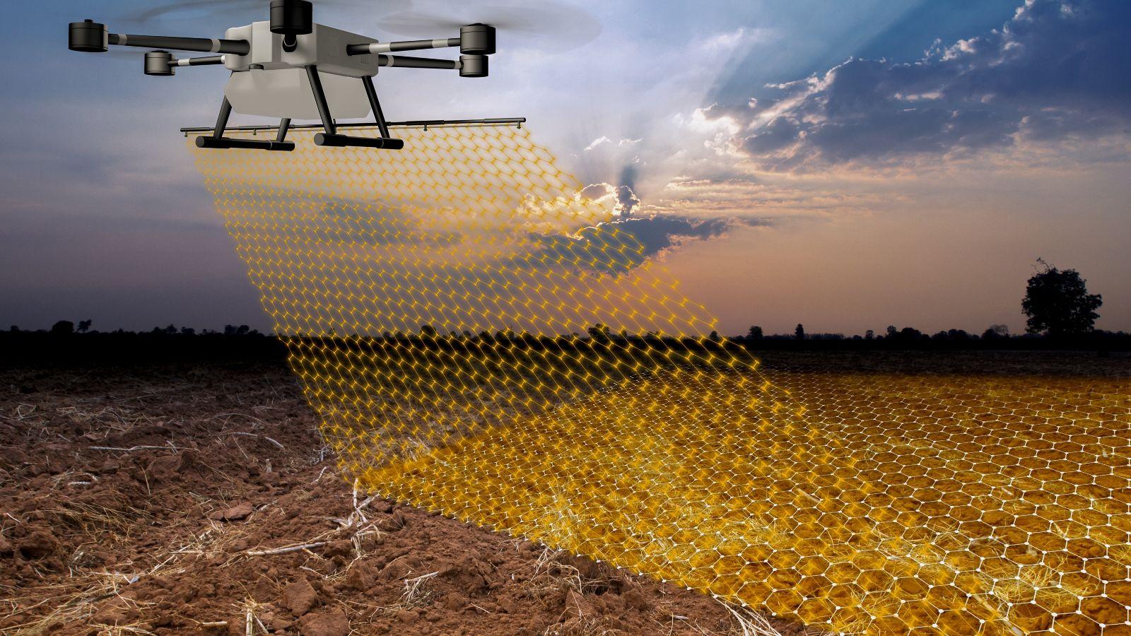 Eine graphische Darstellung illustriert eine Drohne, die mithilfe digitaler Messtechnik die Oberfläche eines Ackers abscannt.