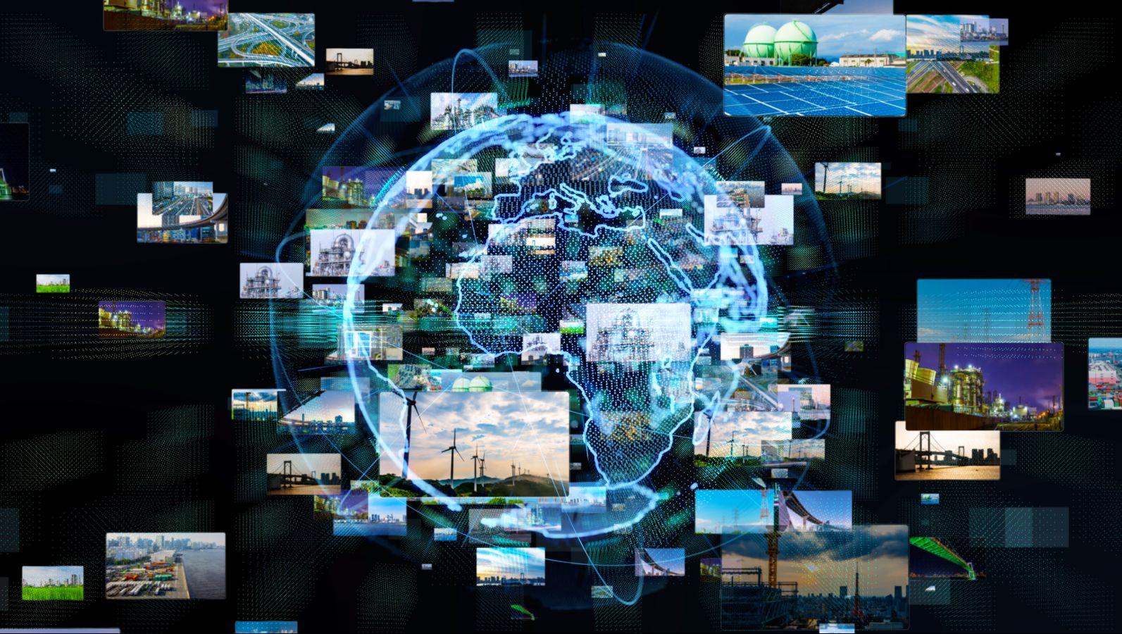 Eine Weltkugel umgeben von vielen kleinen Bildern die diverse Ressourcenutzungsmöglichkeiten aufzeigen.