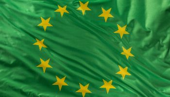 Eine grüne Flagge der Europäischen Union weht im Wind.