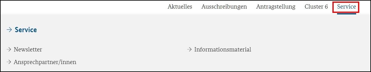 Das Bild zeigt die Navigation der Seite zum Service.