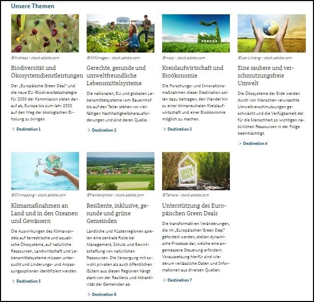 Das Bild zeigt die Navigation der Seite zu den Themen.